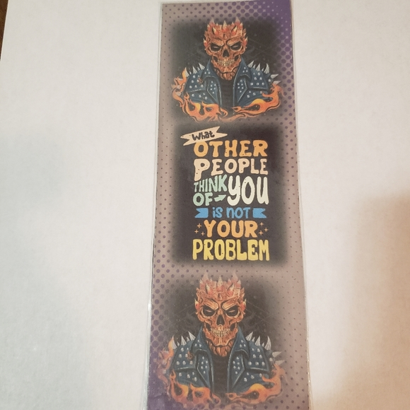 💖2/$15 💖  flaming skull quote bookmark